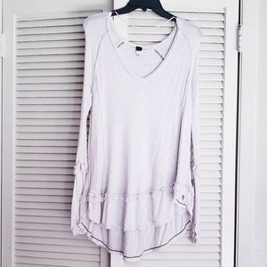 Free People Waffle Thermal Scoop Neck Shirt XS
